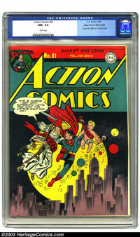 Action Comics #81 Mile High pedigree (DC, 1945) CGC NM+ 9.6 White pages. The Mile High collection consisted of many of t...