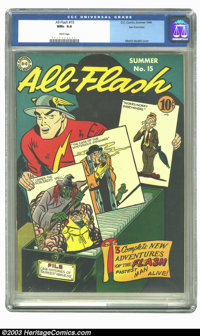 All-Flash #15 San Francisco pedigree (DC, 1944) CGC NM+ 9.6 White pages. The Flash is vividly displayed on this fantasti...