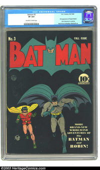 Batman #3 (DC, 1940) CGC VF 8.0 Off-white to white pages. Black covers are always a wonder to behold when in high grade...