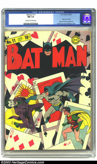 Batman #11 (DC, 1942) CGC NM 9.4 Off-white to white pages. What a winning hand this deck of cards presents! This is the...