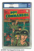 Golden Age (1938-1955):War, Boy Commandos #10 (DC, 1945) CGC VF+ 8.5 Cream to off-white pages.Kirbyesque cover maintains the style of The King in this ...