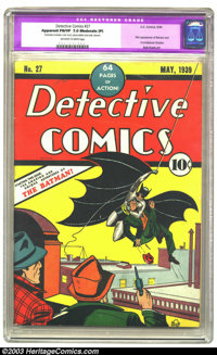 Detective Comics #27 (DC, 1939) CGC Apparent FN/VF 7.0 Moderate (P) Off-white to white pages. This monumental issue tout...