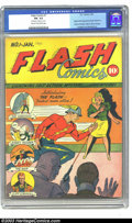 Golden Age (1938-1955):Superhero, Flash Comics #1 (DC, 1940) CGC FN- 5.5 Cream to off-white pages. One of the classic DC keys, this introductory issue feature...