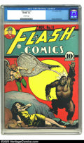 Golden Age (1938-1955):Superhero, Flash Comics #11 (DC, 1940) CGC VF/NM 9.0 Off-white pages. Some of the greatest DC covers ever were their memorable gorilla ...