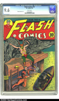 Golden Age (1938-1955):Superhero, Flash Comics #15 (DC, 1941) CGC NM+ 9.6 White pages. Sheldon Moldoff's Hawkman cover is a real show-stopper, and there's mor...