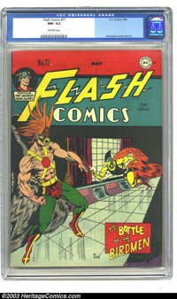 Flash Comics #71 (DC, 1946) CGC NM- 9.2 Off-white pages. Joe Kubert created one of the most memorable covers of this ent...