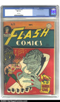Golden Age (1938-1955):Superhero, Flash Comics #75 (DC, 1946) CGC NM 9.4 White pages. This Hawkman-Devil cover by Joe Kubert looks as fresh as the day this is...