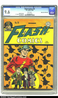 Flash Comics #78 Mile High pedigree (DC, 1946) CGC NM+ 9.6 White pages. The Flash and his crew get decked out for Hallow...