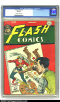 Golden Age (1938-1955):Superhero, Flash Comics #80 (DC, 1947) CGC NM 9.4 Off-white to white pages. In this Golden Age issue of Flash Comics, Atom begins, ...