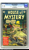 Golden Age (1938-1955):Horror, House of Mystery #1 (DC, 1952) CGC VF- 7.5 Off-white to whitepages. DC's first horror comic was one of a few of the genre t...