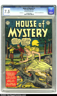 House of Mystery #1 (DC, 1952) CGC VF- 7.5 Off-white to white pages. DC's first horror comic was one of a few of the gen...