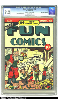 More Fun Comics #39 Mile High pedigree (DC, 1939) CGC NM- 9.2 Off-white to white pages. Santa seems to be having a workp...