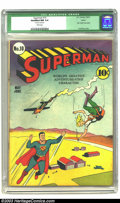 Golden Age (1938-1955):Superhero, Superman #10 Larson pedigree (DC, 1941) CGC Qualified NM 9.4 White pages. Lex Luthor is bald in this issue, his fifth appear...