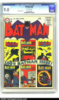 Silver Age (1956-1969):Superhero, Batman #100 (DC, 1956) CGC VF/NM 9.0 Off-white pages. 100th issuesare always in demand, but even more so with this title. T...