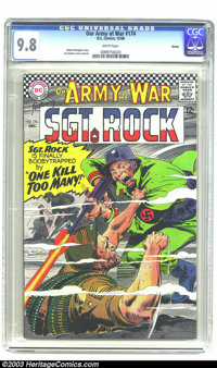 """Our Army At War #174 Boston pedigree (DC, 1966) CGC NM/MT 9.8 White pages. """"Sgt. Rock is finally boobytrapped by 'O..."""