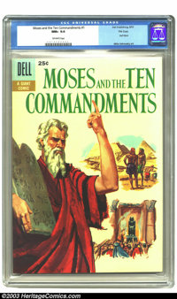 Moses and the Ten Commandments #1 File copy (Dell, 1957) CGC NM+ 9.6 Off-white pages. Dell Giant; Moses and the Ten Comm...