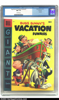 Bugs Bunny's Vacation Funnies #7 File copy (Dell, 1957) CGC NM+ 9.6 Off-white pages. Dell Giant; features Bugs Bunny, Po...