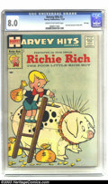 Silver Age (1956-1969):Humor, Harvey Hits #3 Richie Rich - File Copy (Harvey, 1957) CGC VF 8.0 Cream to off-white pages. This key issue is the very first ...