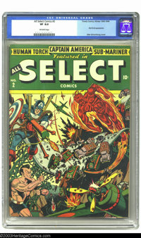 All Select Comics #2 (Timely, 1943) CGC VF 8.0 Off-white pages. World War II-era Timelys had some of the greatest action...