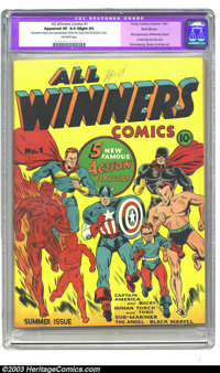 All Winners Comics #1 Recil Macon pedigree (Timely, 1941) CGC Apparent VF 8.0 Slight (P) Off-white pages. While Captain...