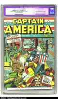 Golden Age (1938-1955):Superhero, Captain America Comics #1 (Timely, 1941) CGC Apparent VF- 7.5 Slight (P) Cream to off-white pages. He wasn't the first patri...