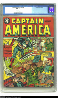 Captain America Comics #9 (Timely, 1941) CGC NM- 9.2 Off-white pages. The Black Talon couldn't get a real model for his...