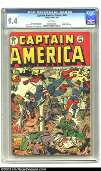 Captain America Comics #46 (Timely, 1945) CGC NM 9.4 White pages. Alex Schomburg's stirring cover, known universally in...