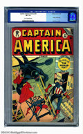 Golden Age (1938-1955):Superhero, Captain America Comics #60 (Timely, 1947) CGC VF- 7.5 Tan to off-white pages. This incredible, vertigo-inducing cover by Syd...