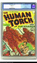 Golden Age (1938-1955):Superhero, The Human Torch #2 (#1) (Timely, 1940) CGC NM 9.4 Off-white pages.Alex Schomburg's cover is one of his most significant, an...