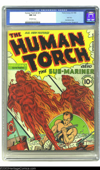 The Human Torch #2 (#1) (Timely, 1940) CGC NM 9.4 Off-white pages. Alex Schomburg's cover is one of his most significant...