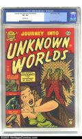 Golden Age (1938-1955):Horror, Journey into Unknown Worlds #14 (Atlas, 1952) CGC VF+ 8.5 Off-whitepages. Bill Everett provides a cool cover, but it's the ...
