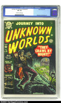 "Golden Age (1938-1955):Horror, Journey into Unknown Worlds #15 (Atlas, 1953) CGC VF+ 8.5 Off-whiteto white pages. The undead on this cover ""Crawl by Night..."