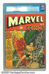 "Marvel Mystery Comics #9 (Timely, 1940) CGC FN+ 6.5 Off-white pages. Overstreet rates it a ""classic"" cover, an..."