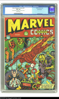 Golden Age (1938-1955):Superhero, Marvel Mystery Comics #34 San Francisco pedigree (Timely, 1942) CGC VF+ 8.5 Off-white pages. Timely comics in general, and t...