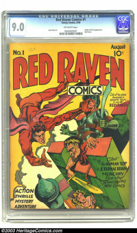 Red Raven Comics #1 (Timely, 1940) CGC VF/NM 9.0 Off-white pages. Chronologically this title was preceded only by Marvel...