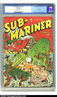 Sub-Mariner Comics #8 (Timely, 1942) CGC VF 8.0 Off-white pages. The mighty Sub-Mariner lends a hand, maybe a fist, in t...