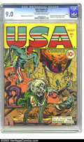 Golden Age (1938-1955):Superhero, U.S.A. Comics #1 Larson pedigree (Timely, 1941) CGC VF/NM 9.0 Off-white to white pages. If we had to pick an early Timely #1...