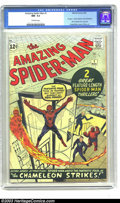 Silver Age (1956-1969):Superhero, Amazing Spider-Man #1 (Marvel, 1963) CGC NM- 9.2 Off-white pages.For those readers who had caught Spidey's first appearance...