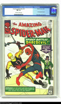 Silver Age (1956-1969):Superhero, Amazing Spider-Man #16 (Marvel, 1964) CGC NM 9.4 Off-white to white pages. Stan Lee and Steve Ditko bring us a fun crossover...
