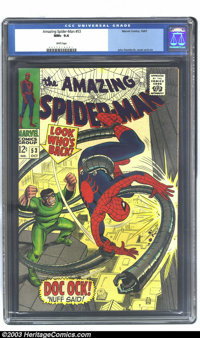 Amazing Spider-Man #53 (Marvel, 1967) CGC NM+ 9.6 White pages. John Romita Sr.'s art on Spider-Man may not have the flas...