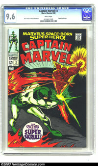 Captain Marvel #2 (Marvel, 1968) CGC NM+ 9.6 White pages. Art by Gene Colan and Vince Colletta, with a story featuring t...