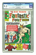 Silver Age (1956-1969):Superhero, Fantastic Four Annual #1 (Marvel, 1963) CGC NM- 9.2 Cream to off-white pages. Spider-Man makes an early appearance in this f...