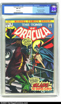 Bronze Age (1970-1979):Horror, Tomb of Dracula #10 (Marvel, 1973) CGC NM 9.4 Off-white pages. Thisintense cover introduces Blade the Vampire Slayer, who s...