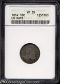 Bust Dimes: , 1814 10C Large Date VF35 ANACS. JR-2, R.3. Period after C....