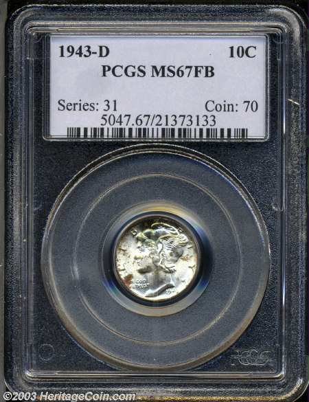 1943 D 10c Ms67 Full Bands Pcgs Freckles Of Sea Green