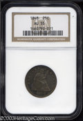 Seated Quarters: , 1848 25C AU55 NGC. Deeply toned with some light wear ...
