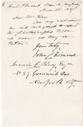 "Autographs:Statesmen, John C. Fremont Autograph Letter Signed ""John C. Fremont.""This 5.5"" x 8.5"" one page letter is dated June 28, 1887. In f..."