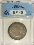 Early Half Dollars: , 1807 50C Draped Bust XF40 ANACS. O-102, R.2. Powder-blue andapple-green endow the obverse periphery, while the portrait is...