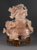 Asian:Chinese, CHINESE CARVED ROSE QUARTZ VESSEL. Chinese carved rose quartzvessel and cover, in the form of a dragon-turtle with a gour...(Total: 2 )