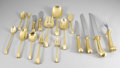 Other:American, TUTTLE GOLD WASHED SILVER FLATWARE SET. Set includes: eight dinnerforks, seven salad forks, eight lemon forks, eight dinn... (Total:84 )
